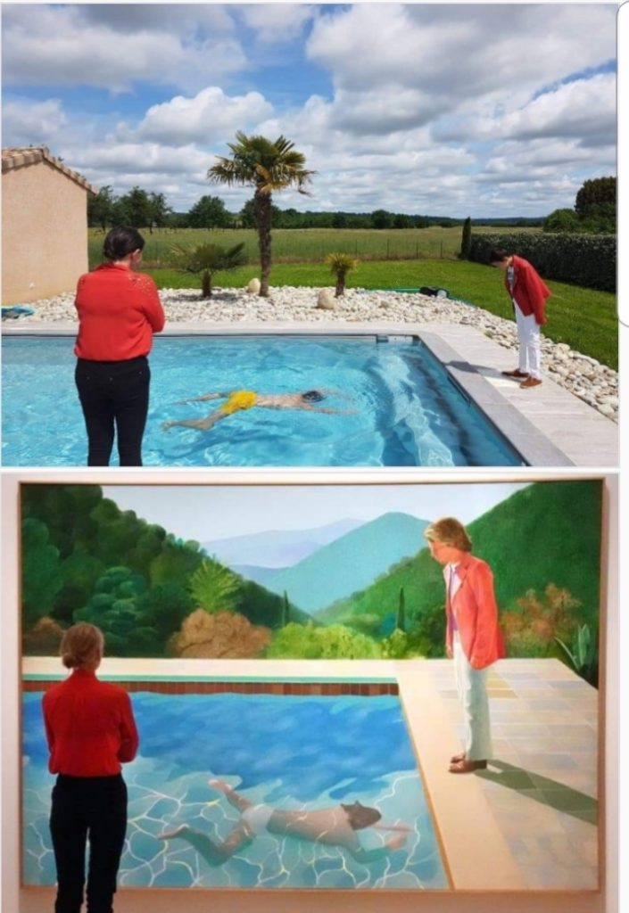Pool with two figures by David Hockney and Hugo
